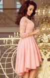 Pastelowa sukienka wieczorowa z koronką Numoco 210-7 tył