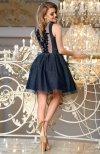 Bicotone 2170-01 sukienka rozkloszowana granatowa tył
