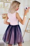 Bicotone sukienka z koronką różowo-granatowa 2179-11 tył