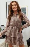Modna sukienka mini z guziczkami przy dekolcie