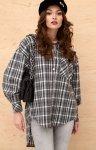 Asymetryczna koszula w kratę 0103 A10