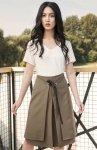 Elegancka spódnica z efektownym wiązaniem khaki SP123