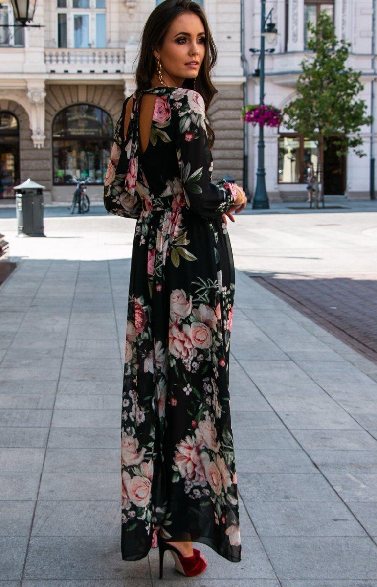 Stylowa sukienka maxi w kwiaty 0219D37 Odzież damska Roco