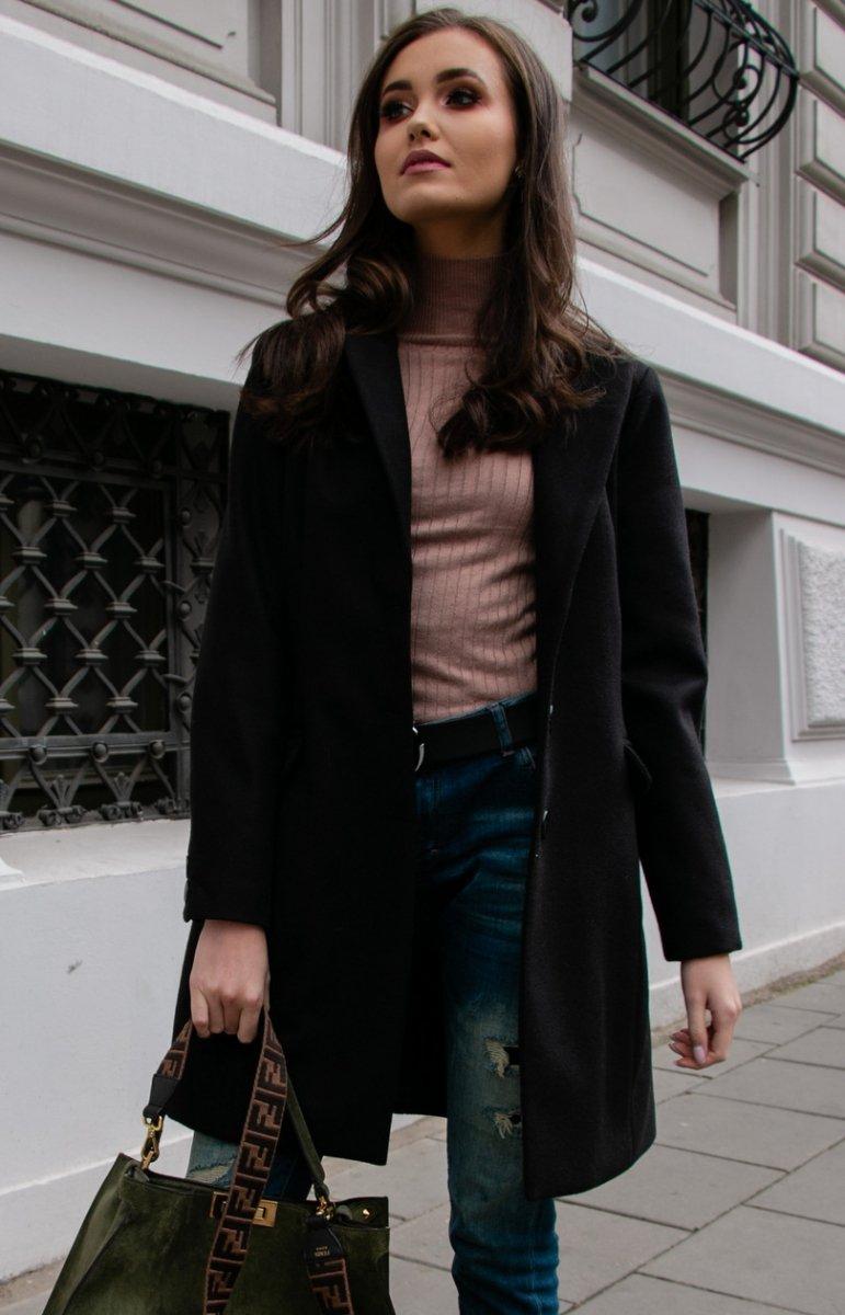 Wełniany płaszcz czarny Roco P012 Płaszcze i Kurtki