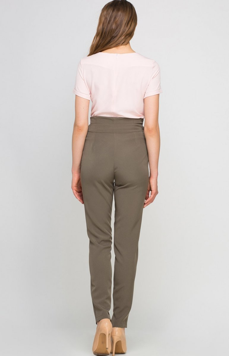 Lanti SD113 spodnie khaki Eleganckie spodnie damskie