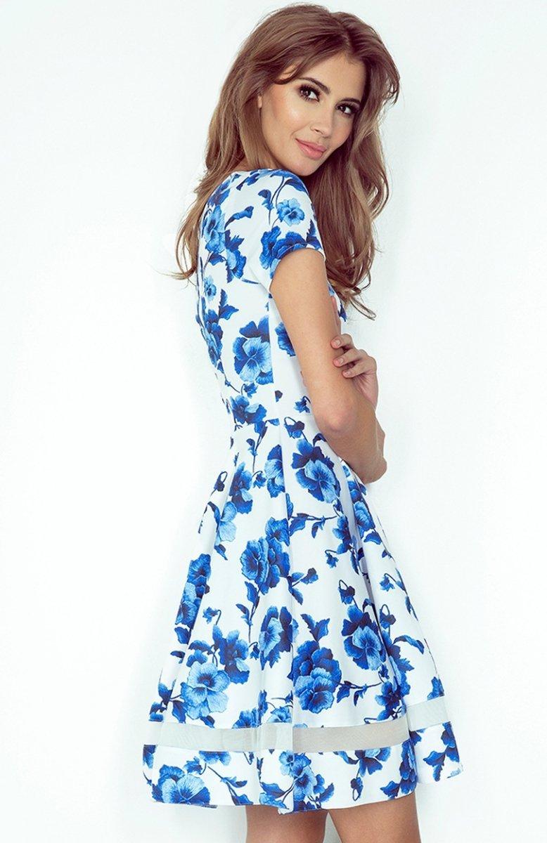 c71c64267a Morimia 003-3 sukienka biała w niebieskie kwiaty - Sukienki wiosenne ...