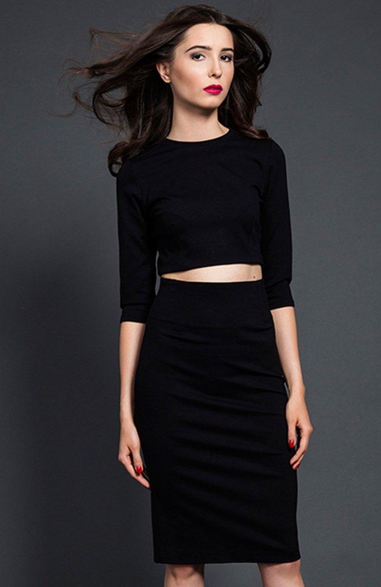 Kasia Miciak komplet czarna sukienka Sukienki dzienne i