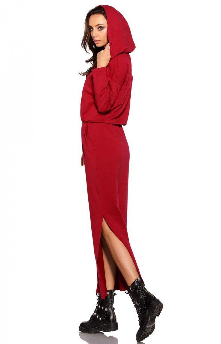 3ed44b9b9c Dresowa sukienka MAXI z kapturem L287 bordowa - Sklep Intimiti.pl