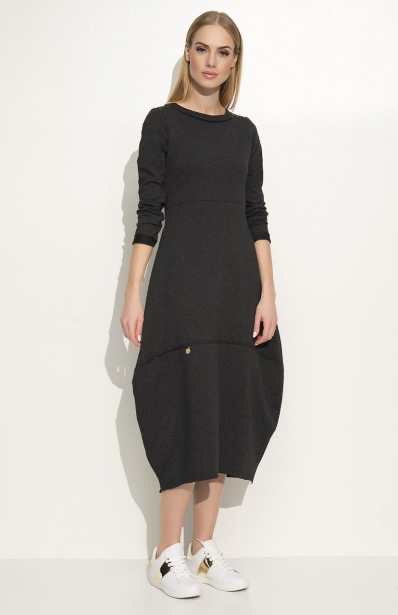 24cd8e6030 Makadamia M337 sukienka grafitowa - Modne sukienki Makadamia ...
