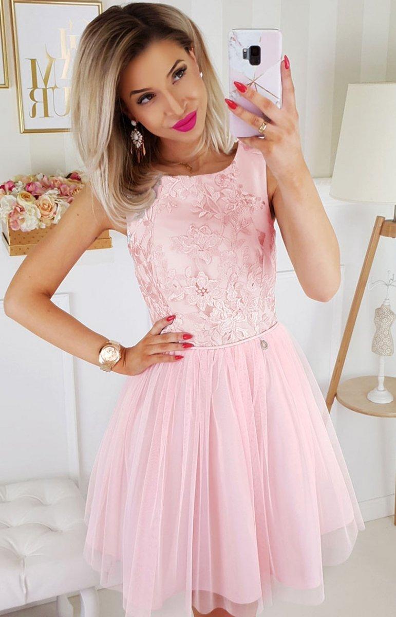 080a96a508becd Bicotone sukienka z koronką pudrowy róż 2179-12 - MODA DAMSKA ...