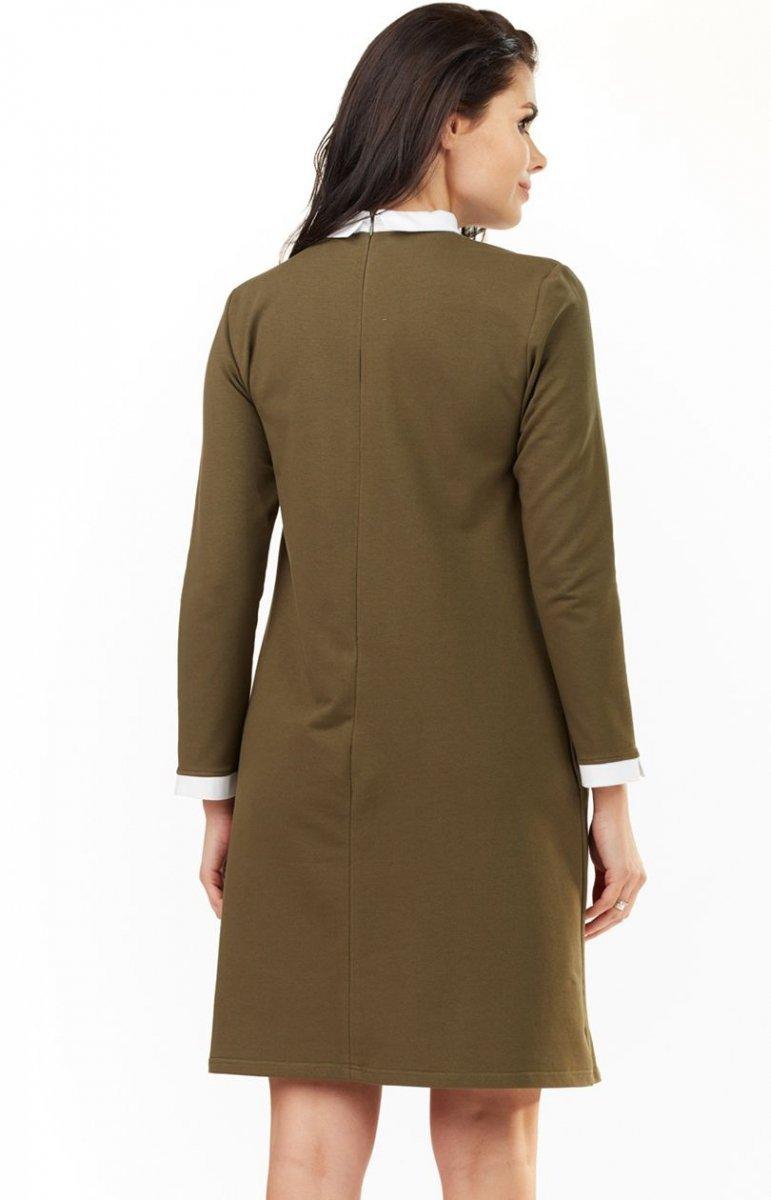 758cff02a5 Awama A204 sukienka khaki - Sukienki damskie na co dzień - Sukienki ...