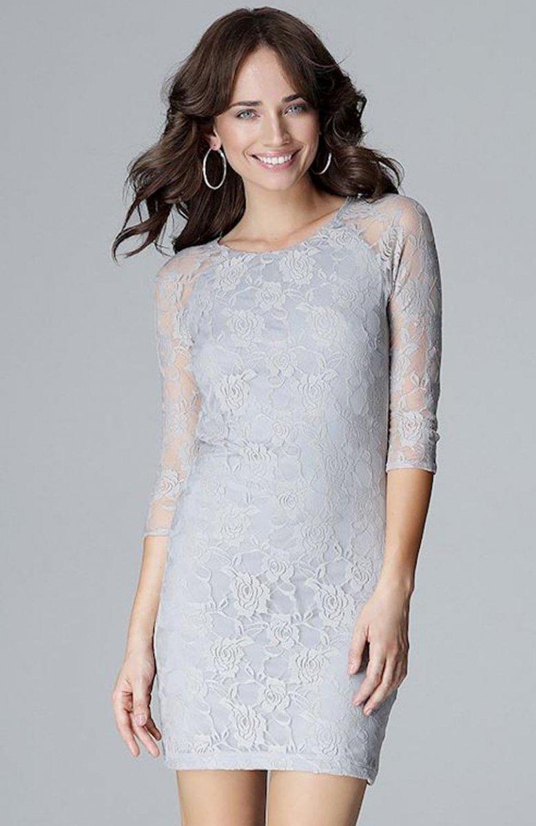 6728ce5702 Lenitif L017 sukienka koronkowa szara - Sukienki koronkowe ...