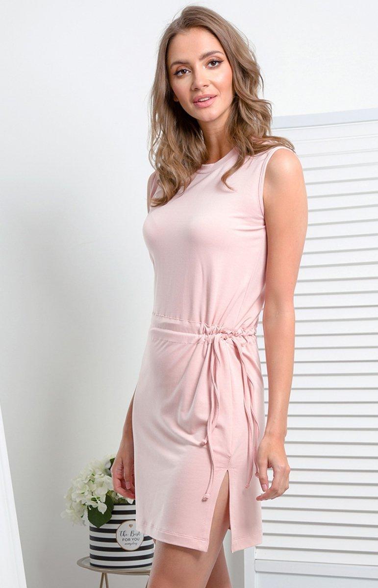 db9c106683b085 Prosta dzianinowa sukienka pudrowy róż I337 - Sklep internetowy ...