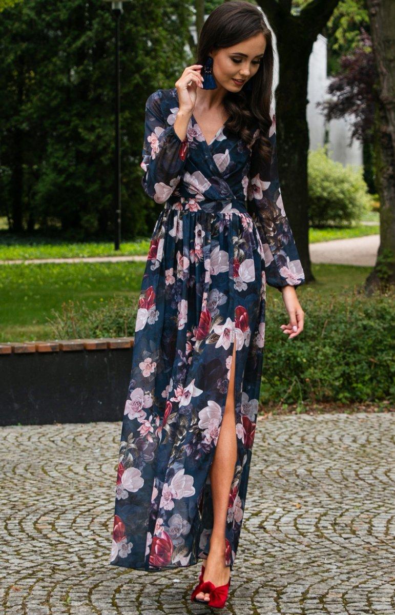 Stylowa sukienka maxi w kwiaty 0219D44