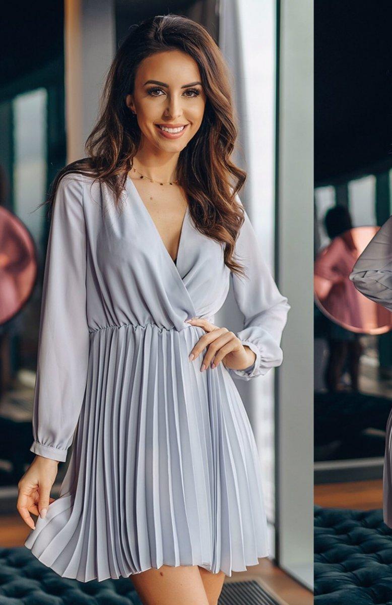 41b1f046df Lola Fashion plisowana sukienka szara - Sukienki na co dzień ...