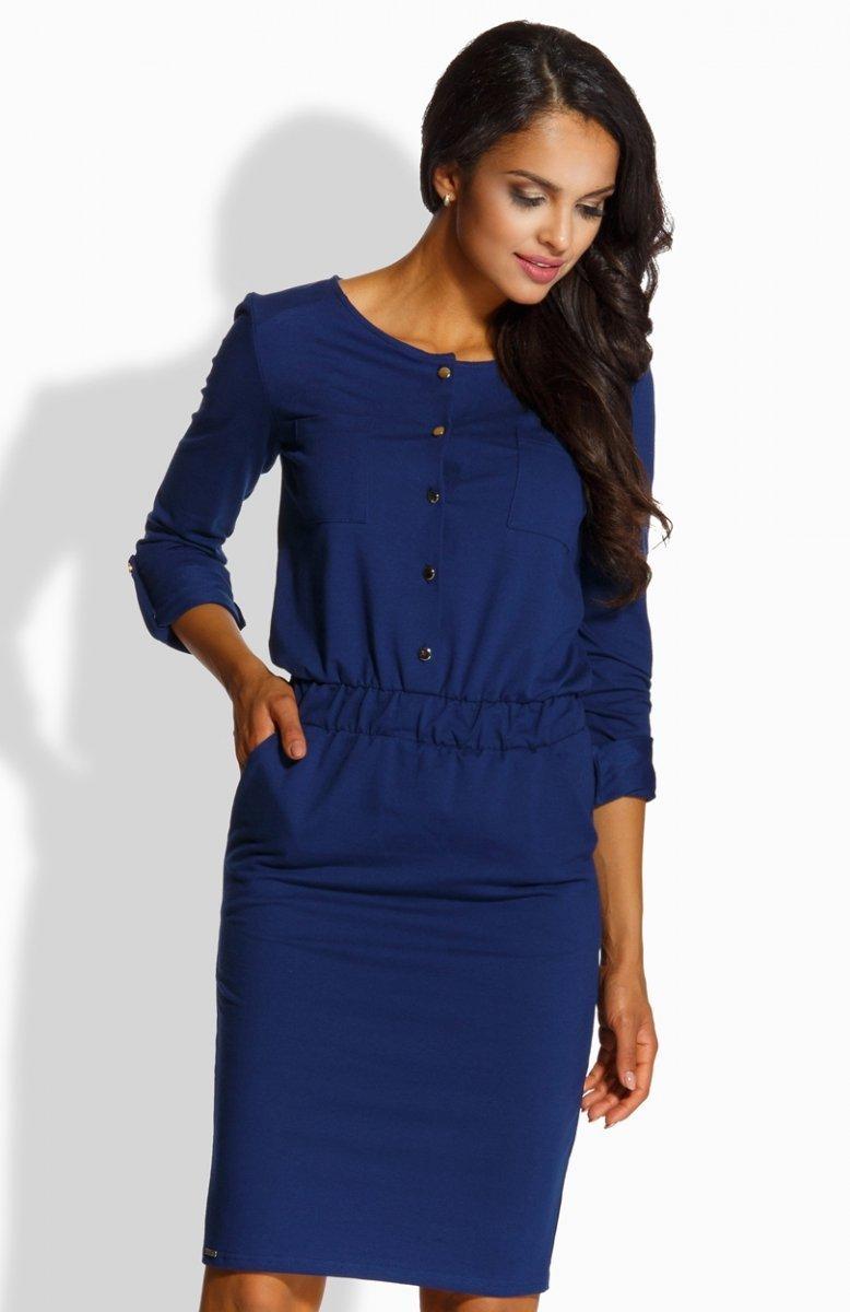 9cf67b11f2718f Lemoniade L224 sukienka granatowa - Dzianinowe sukienki damskie ...