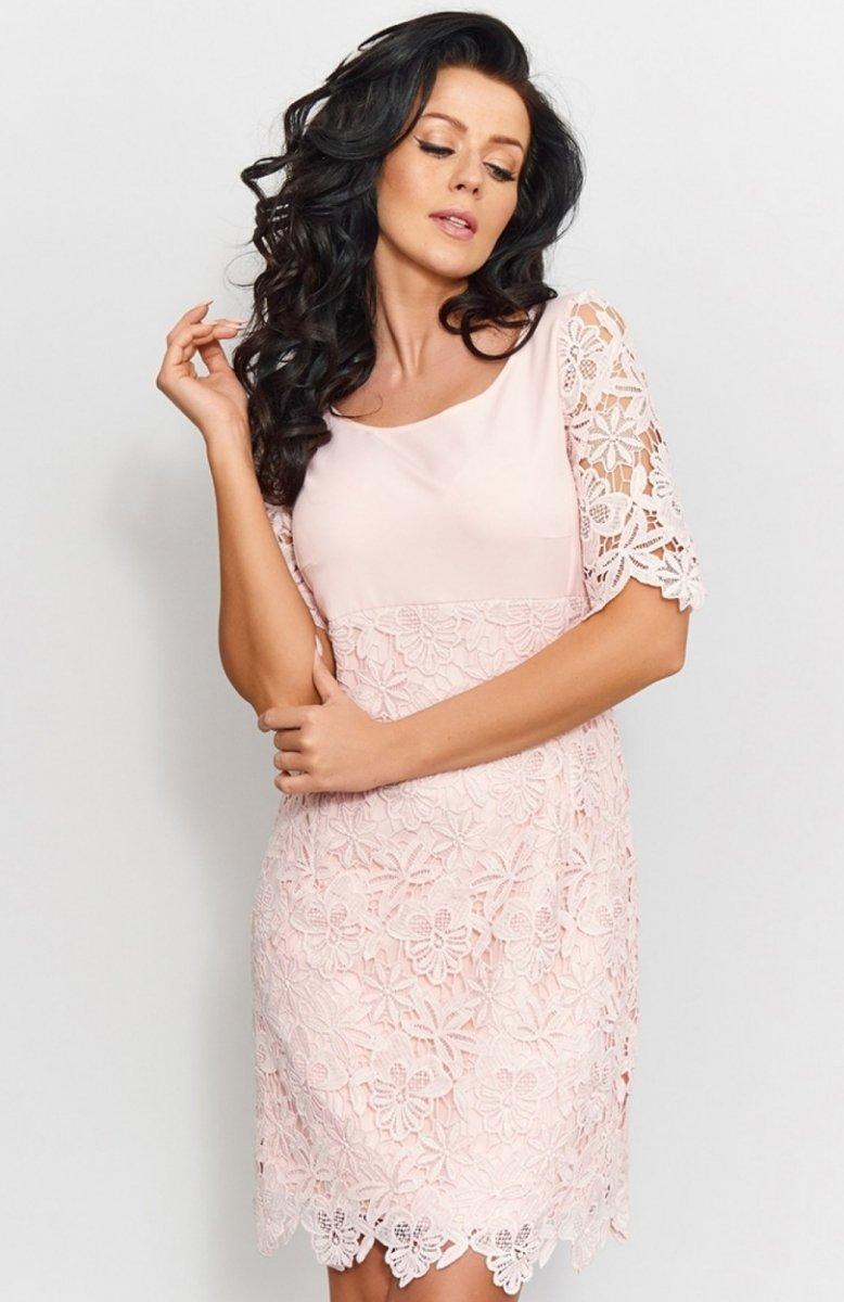 4f969118f4ff49 Roco 0204 sukienka pudrowy róż - Sukienki koronkowe - Sukienki ...
