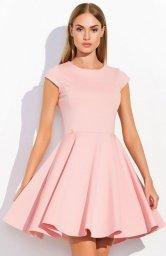 Makadamia M296 sukienka pudrowy róż