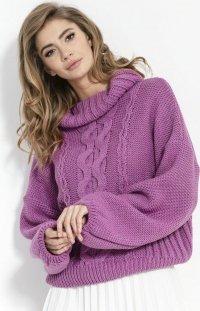 Wełniany sweter z golfem fioletowy F852