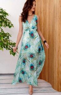 Długa sukienka w jasny print pawie oko 0287/R47