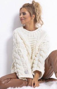 Ciepły sweter z wełny i alpaki ecru F780