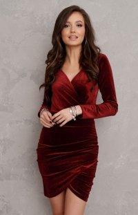 Sukienka ołówkowa welur bordowa 0318