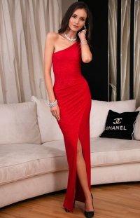 *Elegancka czerwona sukienka z brokatem 274