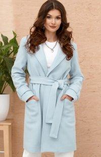 Wiązany płaszcz damski błękitny 0019