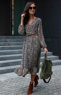 *Sukienka midi w panterkę 0241/D41