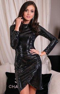 Wieczorowa sukienka czarna z połyskiem srebrnym 0262