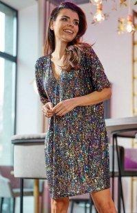 Oversizowa sukienka cekinowa multicolor Awama A347