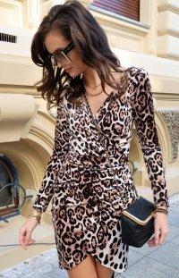 Elegancka mini sukienka w panterkę 0307/K01