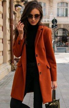 Elegancki płaszcz z wełną rudy Roco P012