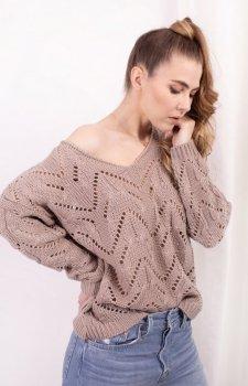 Ażurowy sweterek latte LS319