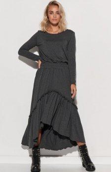 Dzianinowa maxi sukienka grafitowa M573