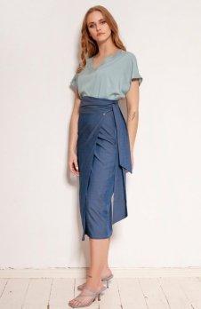 Ołówkowa spódnica wiązana szarfą jeans SP129