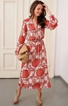 *Wzorzysta sukienka midi Roco 0284/R25