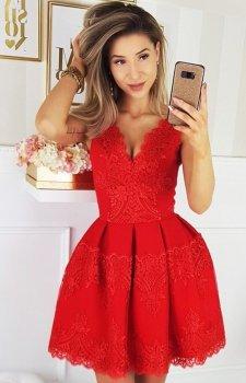 Bicotone czerwona rozkloszowana sukienka 2136-02