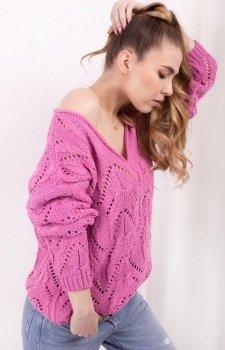 Ażurowy sweterek różowy LS319