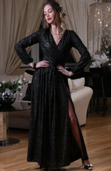 Roco 0227 sukienka czarno-złota