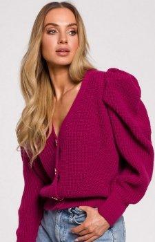 Krótki sweter z bufkami różowy M629