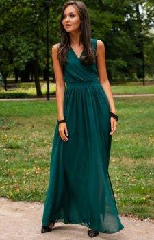 Elegancka szyfonowa sukienka zielona 0213