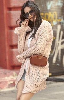 Ażurowy brudny róż sweter S49