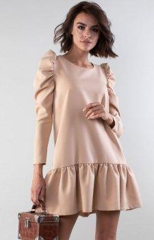 Luźna sukienka z falbanką beżowa NA195LP