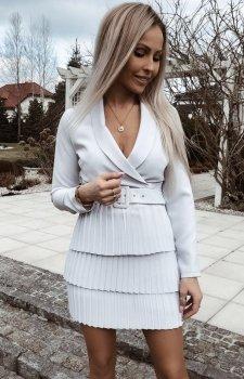 Kopertowa sukienka z plisowaniem szara