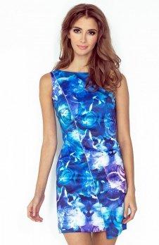 Morimia 004-1 sukienka niebieskie kwiaty