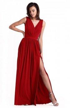 Efektowna długa sukienka czerwona Philippa