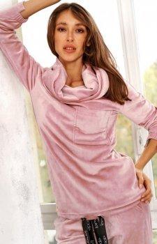 Welurowa bluza z golfem różowa