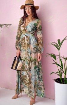 Długa sukienka w kwiaty 0219/U76