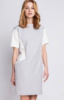 Lanti SUK124 sukienka szaro-biała